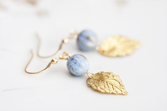 Golden Leaf Earrings Christmas Ice Blue Pumpkin Beads Little Brass Leaves Nature Inspired Jewelry - E135