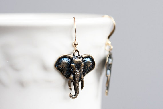 Elephant Earrings Good Luck Charms Antiqued Bronze Elephant Dangle Brown Elephant Charms Wild Animal Jewelry - E140