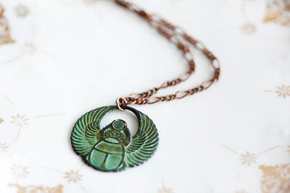 Egyptian Scarab Necklace Good Luck Pendant Patina Scarab Verdigris Pendant Egyptian Jewelry - N165