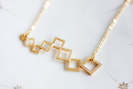 Gold Squares Necklace Geometric Modern Necklace Geometric Design Geometric Jewelry - N169