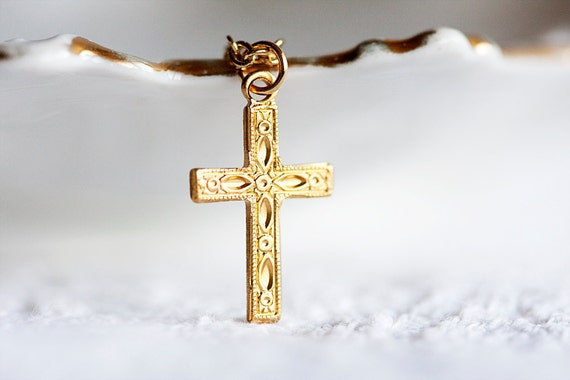 Floral Cross Necklace Gold Filled Chain Gold Crucifix Necklace Cross Charm Religious Jewelry Gold Cross Jewelry - N173