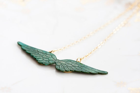 Angel Wings Necklace Verdigris Patina Wings Jewelry Rustic Shabby Green Wing Charm Patina Jewellery - N200