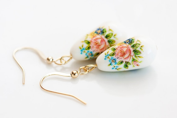 Floral Drop Earrings Flower Teardrop Earrings Summer Flower White Tear Drop Dangle Earrings - E162