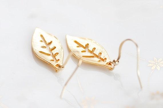 Leaf Dangle Earrings Gold Leaf Earrings Simple Leaf Charms Nature Leaves Delicate Leaf Jewelry - E175