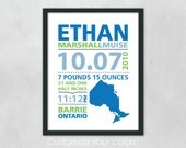 Modern Typography Birth Announcement Print with Map