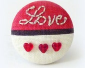 Brooch pin valentine love hearts fabric
