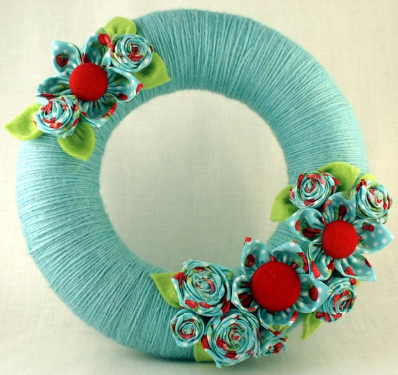 Wreath yarn-wrapped fabric flowers home decor