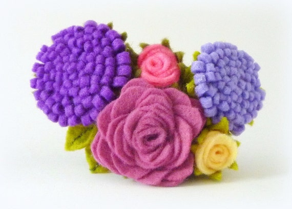Hair slide with purple, pink, lavender and yellow felt flowers