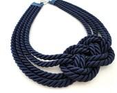 Navy Blue Sailor's Knot Necklace