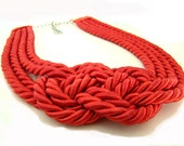 Coral Red Sailor's Knot Necklace