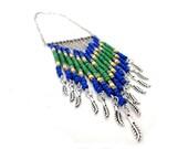 SALE - Blue Green Yellow Chevron Tribal Necklace