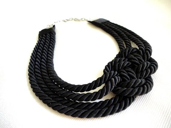 Black Sailor's Knot Nautical Necklace