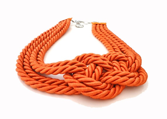 Tangerine Sailor's Knot Necklace