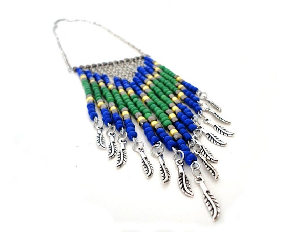 SALE - Blue Green Yellow Chevron Tribal Necklace