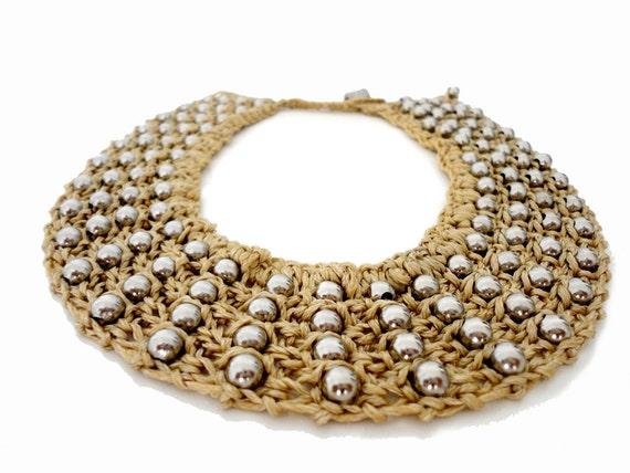 Neutral Summer Fashion Knitted Collar Bib Necklace