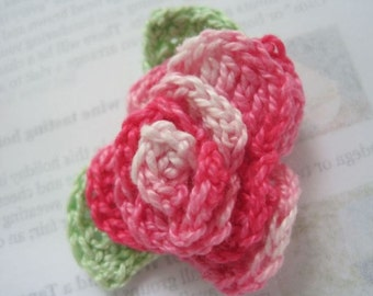 Pink crochet Rose brooch.