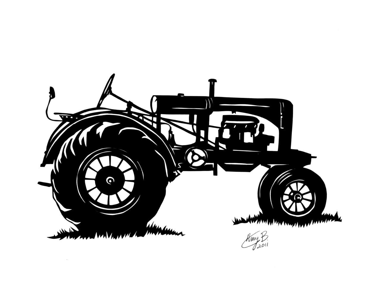 Tractor Silhouette Tractor paper cut 10x8 by