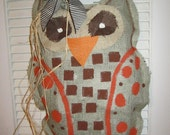 Owl Sage Burlap Door Hanger Door Decoration