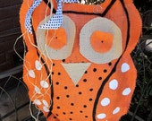Owl Orange Burlap Door Hanger Door Decoration