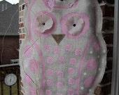 Owl Burlap Door Hanger Door Decoration Pink and White Baby Girl