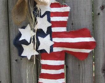 Burlap Cross Burlap Door Hanger American Flag with Stars