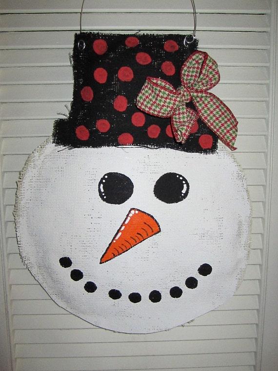 Snowman Christmas Burlap Door Hanger Door Decoration Winter