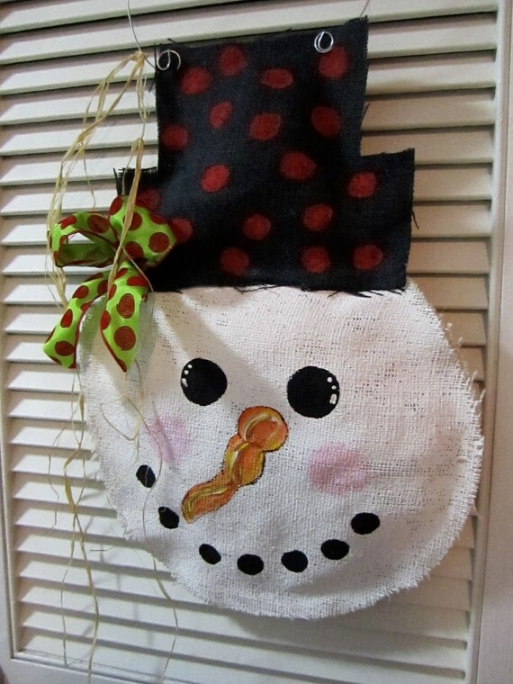 Snowman Christmas Burlap Door Hanger Door Decoration Winter