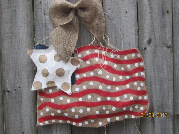 Burlap USA Flag Red, White and Blue Burlap Door Hangers American Flag
