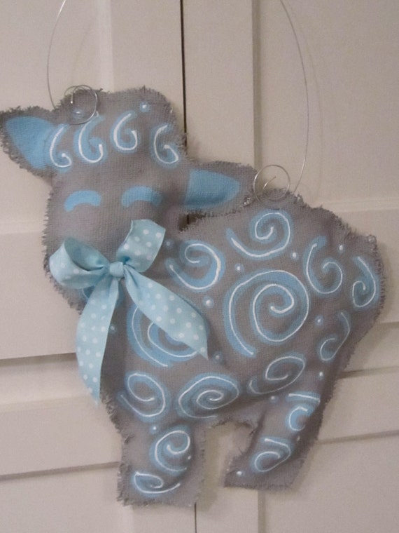 Items Similar To Baby Lamb Burlap Door Hanger With Ribbon Baby Boy On Etsy