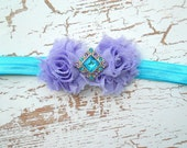 Girls Flower Headband Lavender and Turquoise Womens Headband