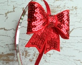 Red bow headband sequin for teens and women
