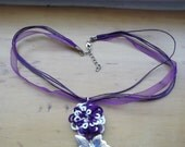 Hand Tatted Daisy Rose Pendant in Purple