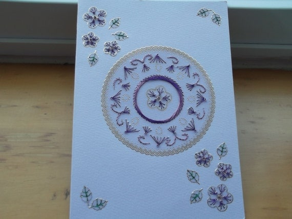Handmade Blank Embriodery and Bead Greeting Card