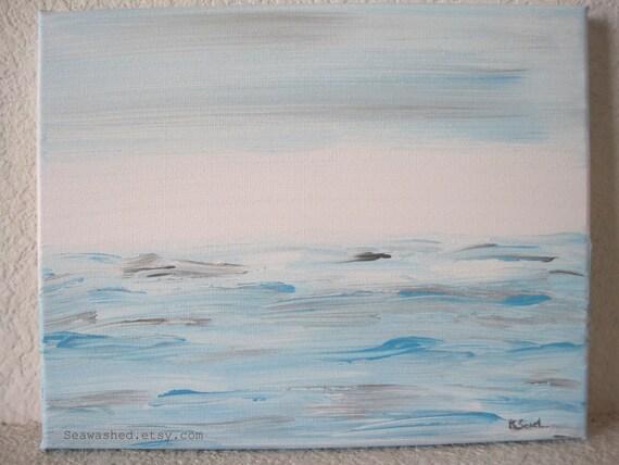 The Sea VII Original Painting Of The Sea Series 8 x 10 Aqua, White, Grey Acrylic On Canvas Beach Home Decor