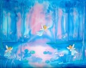 Dancing Fairies - silk painting