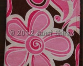 Set of 3 XL Soft Cotton Flannel Reversible Burp Cloths with Pink Flowers & a coordinating striped print