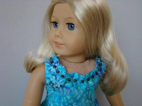 Blue,  green and purple Hawaiian sundress for American Girl or similar 18 inch doll.