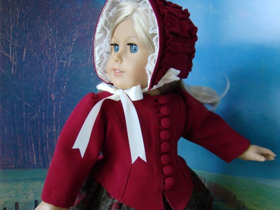 1850's style fitted jacket, bonnet and dress for American Girl or similar 18 inch doll