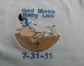 2 Piece Christening - Baptism Set of for baby boy or baby girl inclues 1 Onesie & 1 Bib - Onesie sizes newborn to 24 months