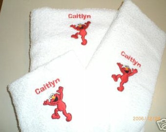 Elmo 3 Piece Embroidered Bath Towel Set - Personalized
