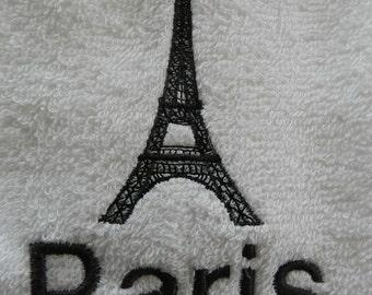 Eiffel Tower - Paris 2 Piece Embroidered Bath Towel Set