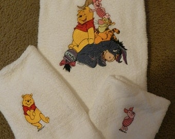 All Pooh Character 3 Piece Embroidered Bath Towel Set - you choose characters that you want for the hand towel and wash cloth to match