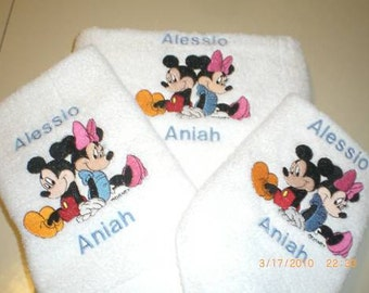 Mickey & Minnie Mouse sitting back to back 3 Piece Embroidered Bath Towel Set - Personalized (Cute Bridal Shower Set)