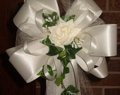 10 Ivory Rose Pew Bows Wedding Decorations Bridal