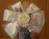 10 Ivory Wisteria Lavender Rose Pew Bows Wedding Decorations Bridal Lavender