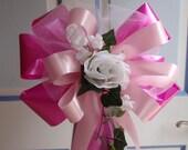 10 Fuschia Bright Pink Pink White Rose Pew Bows Wedding Decorations Bridal