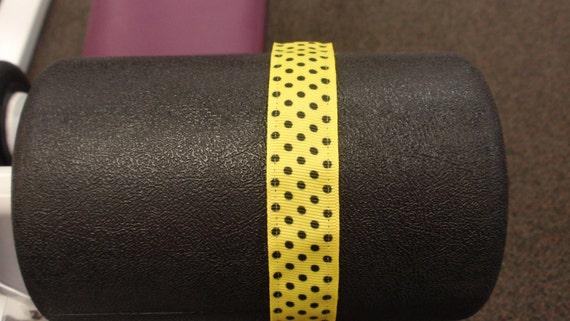 Unique Handmade Workout Headband Sweat Headbands  Yellow with Black polka dots- No Slipping, Sliding, or Discomfort