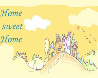 Home sweet home. Great gift idea, digitally colored art sketch, houses on hill, happy land, clean planet home decor furnishing
