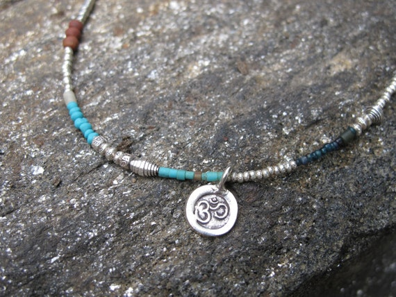 Fine Silver and Natural Stone Bead Om Symbol Necklace