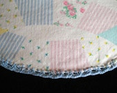 Cotton Baby Blanket with Hand Crocheted Edge Pastel Quilt Print Scalloped